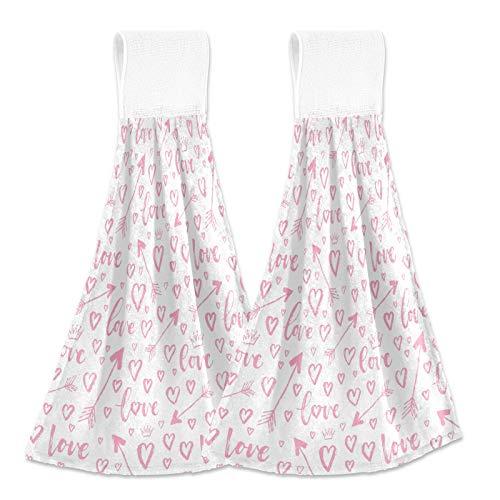 Oarencol Toalla de mano de cocina de San Valentín con diseño de flechas en forma de corazón, color rosa