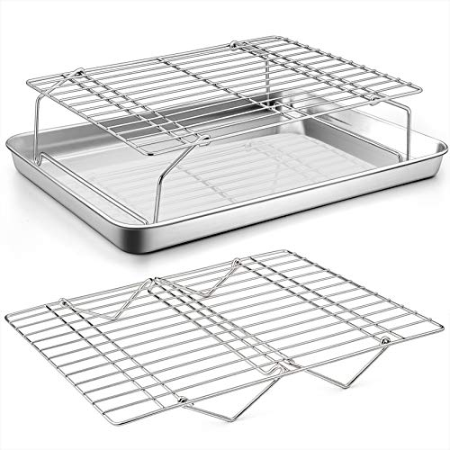Baking Sheet and 2-Tier Cooling Racks Set, P&P CHEF Stainless Steel Baking Pan Tray with Stackable Cooking Wire Rack for Cookie Bacon Meat, Uncoated & Non-toxic, Mirror Finish& Dishwasher Safe - 3Pcs