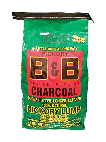 B&B Charcoal 8023448 Organic Hickory Lump Charcoal - 8 lbs