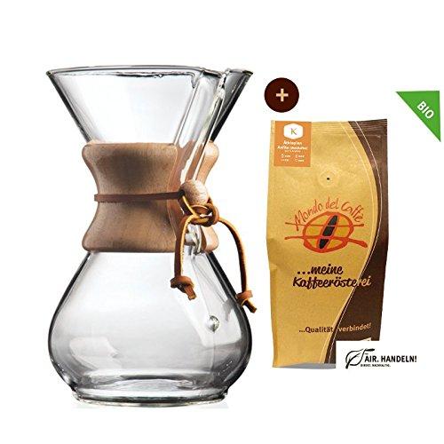 Set Chemex Kaffeekaraffe für bis zu 6 Tassen (850 ml) mit 250 g Filterkaffee, Mondo del Caffè (Chemex Drip Coffee Maker 6 Cups)
