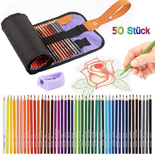 Buntstifte Set, Hospaop 50 Brillanten Farben Bleistift Set mit praktischer Rollmappe für Künstler, Kinder & Erwachsene mit Anspitzer, nach DIN EN71