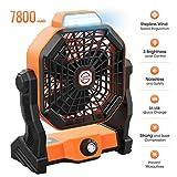 Best Battery Powered Fans - Outdoor Camping Fan Portable Fan Rechargeable, 9-inch 7800mAH Review