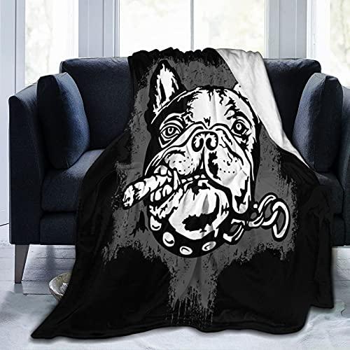 Flannel Fleece Throw Blanket,French Bulldog with A Cigar Black and White Vector Illustration Personalised Soft Warm Fuzzy Lightweight Blankets for Adult Kids Christmas Birthday G-i-f-t 80'x60'
