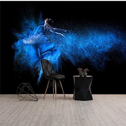 XQFZXQ Wandgemälde Ballsaal Yoga Studio Fantasy Swan Dance Gym Selbstklebend PVC 3D Wandgemälde Fernseher Hintergrund Wohnbereich Kinderzimmer Thema Hintergrund Junge Mädchen Karikatu(B)400x(H)280cm