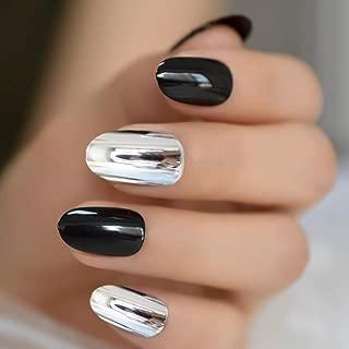 MISUD Oval Fake Nails 24 Pcs Metallic Nails Mixed Glossy Black Nails Punk Design Full Cover Chrome False Nails