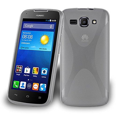 Preisvergleich Produktbild Cadorabo Hülle für Huawei Ascend Y520 - Hülle in HALB TRANSPARENT Handyhülle aus flexiblem TPU Silikon im X-Line Design - Silikonhülle Schutzhülle Soft Back Cover Case Bumper