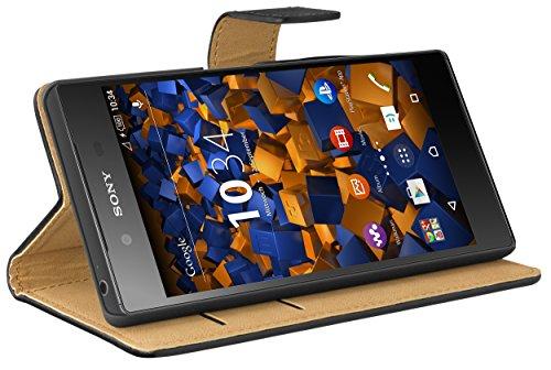 mumbi Tasche Bookstyle Case kompatibel mit Sony Xperia Z5 Hülle Handytasche Case Wallet, schwarz