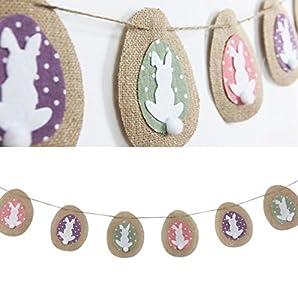 2.2 Meter Vintage Jute Sackleinen Ostern Deko Hase Eier Girlande Papier Osterdekoration Easter Deco von SUNBEAUTY