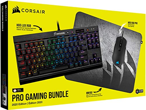 Corsair Pro Gaming Bundle New 2020 Edition: K65 LUX RGB Keyboard, M55 RGB PRO Mouse & Gaming Mouse Pad