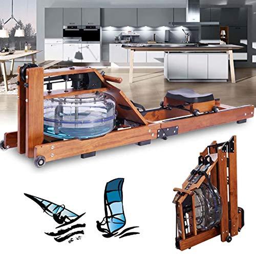 ZH1 Remo Waterrower Plegable, Remo De Agua De Madera para El Hogar con Resistencia Ajustable Y Rueda Móvil, Remo De Agua Peso Máximo del Usuario 155 Kg
