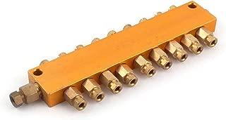 LDEXIN Brass 9 Way Air Pneumatic Adjustable Lube Oil Piston Distributor Value Manifold Block for Grinder Milling Machine