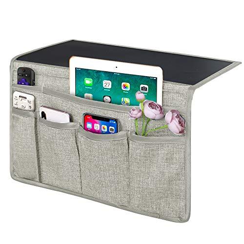 Joywell - Organizador de mesilla de noche con 6 bolsillos, soporte de cama para tablet, teléfono, anteojos, iPad, colchón y sofá, color gris plateado