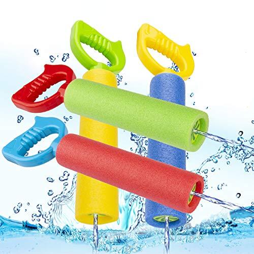 INPHER Pistola de Agua,4PCS Pistola de Agua Multicolor Nuevo Diseño Larga Distancia de Disparo Juguetes de Verano para Niños para Piscina y Playa con 4 Gafas