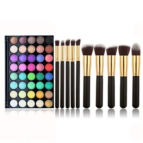 Kit de Maquillaje All in One, FantasyDay 40 Colores Sombra De Ojos Eyeshadow Paleta de Maquillaje Cosmética Profesional Navidad Belleza de Regalos con 10 Brochas Maquillaje para Cara, Base, Colorete