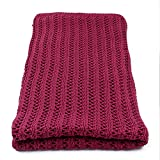 Vezavena   Manta de Estilo Crochet 100% Algodón en Color Granate para Sofás o Camas   Textil de Hogar para Salón o Habitación - 120x170 cm