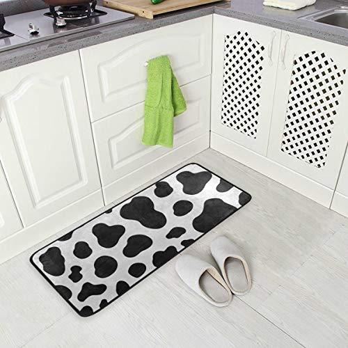 Kitchen Rug Mat Black White Cow Print Standing Anti Fatigue Comfort Flooring Door Mat Oil Proof Floor Mat and Easy to Clean