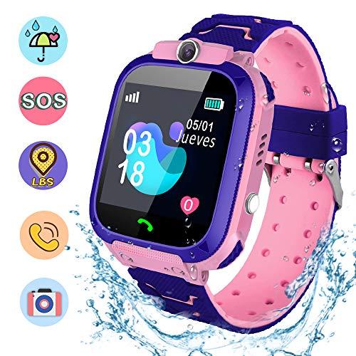 NAIXUES Smartwatch Niños, Reloj Inteligente Niña IP67, LBS, Hacer Llamada, Chat de Voz, SOS, Modo de Clase, Cámara, Juego, Regalo para Niños de 3-12 años, soporta 2G tarjetáas Micro SIM (Rosa)