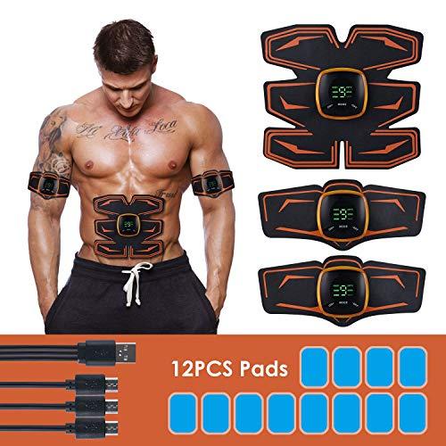 DIGDAN EMS Trainingsgerät, USB Wiederaufladbare Bauchmuskeltrainer Elektrostimulatoren für Männer und Frauen, ABS Stimulator für Arm Bauch Beine Muskelaufbau und Fettverbrennung(Orange)