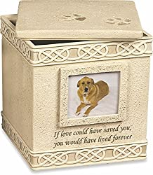 "Dog Memorial Urn, with the words ""If love could have saved you, you would have lived forever."""
