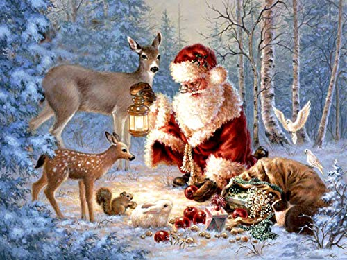 5D DIY Diamond Painting Kits for Adults Full Drill Diamond Art Paintings Christmas Santa Elk Sleigh Animal Snowman Paint by Number with Diamonds Dotz Home Wall Decor(12 x 16 Inch) (Christmas 7)