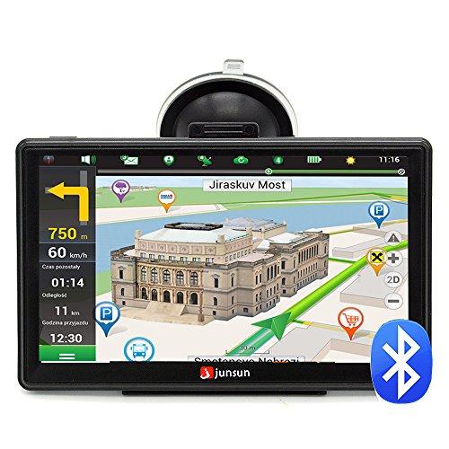 """Junsun Navigateur GPS de 7"""" avec Bluetooth et les cartes de 45 pays européens"""