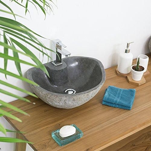 wohnfreuden 40 cm Naturstein Waschbecken mit gerader Rückwand grau mit Unikatauswahl nach dem Kauf aus Bildergalerie