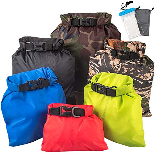 QUACOWW 6 Pcs Waterproof Dry Bag Set, Lightweight Multicolour Dry Sacks Floating Storage BagDrifting Bags for Boating, Hiking, Camping, Cycling, Rafting, and Fishing(1.5L+2.5L+3L+3.5L+5L+8L)