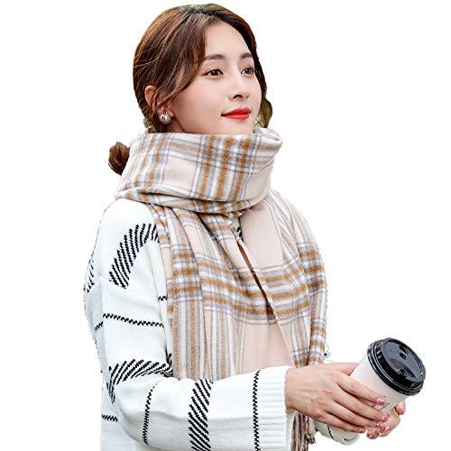 MCZWJ herfst en winter dames sjaal zachte vrouwelijke sjaal dubbelzijdig gebruik lange hak warm geruit sjaal grote 65 x 180 cm