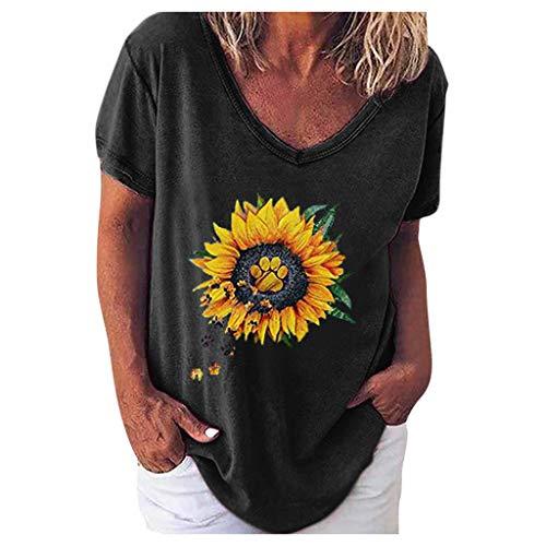 YBWZH Gedruckte Oberteile Große Größen Lässiges Oberteil mit Sonnenblumendruck und V-Ausschnitt Tunika Hippie Strandbluse Shirts Geblühmte Oberteile 46 44 Long Shirts Damen Sommer