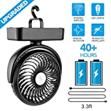 1. Amacool Portable Battery Camping Fan with LED Lantern - Rechargeable 5000mAh Battery Operated USB Desk Fan Kit with Hanging Hook for Tent Car RV Hurricane Emergency Outages