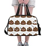 Plosds Kawaii Funny Emoji Cute Poop Cartoon Custom Large Yoga Gym Totes Fitness Handbags Travel Duffel Bags with Shoulder Strap Shoe Pouch For Exercise Sports Luggage For Girls Mens Womens Outdoor