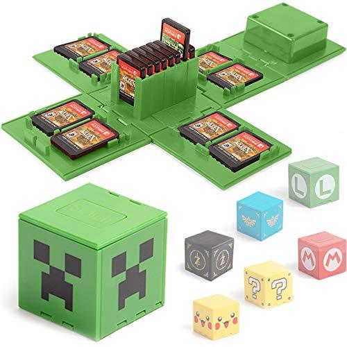 Étui de Rangement pour Jeux Nintendo Switch - Peut contenir jusqu'à 16 Jeux Système de Rangement de Protection Organisateur de Cartes de Jeu Étui Rigide avec 16emplacements (Minecraft Vert)