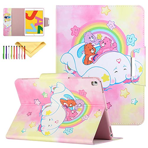Uliking Case for iPad 10.2' & 10.5' Tablet - Slim Folding Stand PU Leahter Smart Cover Case with Card Slots & Auto Sleep Wake Protective Shell fit iPad 8th/7th Generation/Air 3 2019, Rainbow Bear