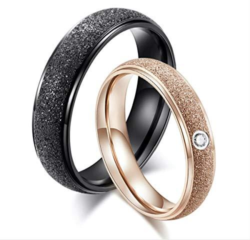 DRG Gioielli Anillos de compromiso de acero inoxidable para él y ella, par de alianzas, color negro, oro rosa, para hombre y mujer, alianzas de boda sencillas Veretta