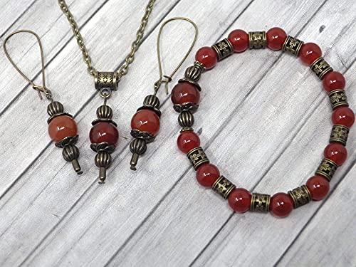 Conjunto de bisutería con pulsera, pendientes y collar en estilo vintage para mujer en cornalina roja