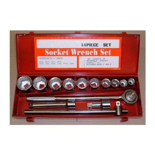 LKW Steckschlüsselsatz mit Ratsche 3/4 zoll 20 mm Antrieb, SW metrisch 22 bis 50 mm. 14 Teile. Knarrenkasten, Nusskasten, Knarre, Steckschlüssel, Nüsse, aus Werkzeugstahl, verchromt.