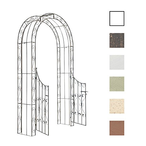 CLP Arche de Jardin avec Portillon Sina - Arceau de Jardin Romantique en Fer Forgé - Support pour Plantes Grimpantes avec Porte Style Shabby-Chic - Couleur : Bronze