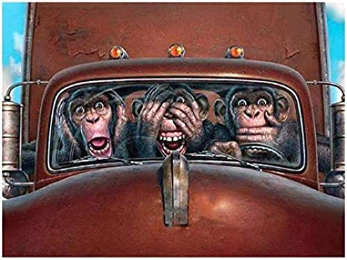 ZZFJF Rompecabezas para adultos 1000 piezas para adultos bordado de dibujos animados mono coche redondo animal punto de cruz de boda arte bordado regalo decoración hogar regalo