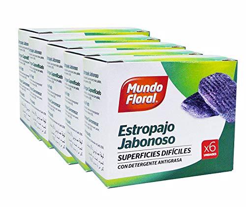 Mundo Floral. Estropajos jabonosos con detergente para Eliminar la Grasa de Utensilios de Cocina. Caja de 24 Packs de 6 uds: 144 estropajos en Total