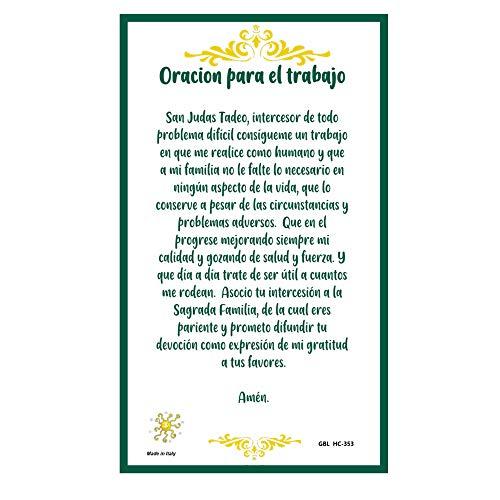 Oracion a San Judas Tadeo para Obtener Trabajo Tarjeta de Rezo Importada de Italia Laminada con Acentos en Oro
