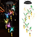 Hummingbird Solar Wind Chimes for Outside, Solar WindChimes with Bell LED Decorative Wind Chime Outdoors Lights Gift for Kids and Friends on Birthday, Mother's Day