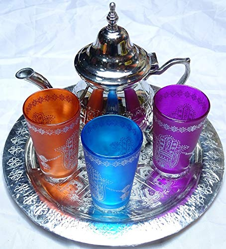 Kenta Juego de te marroquí pequeño : Bandeja 25 cm + Tetera + 3 Vasos de Cristal