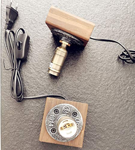 JINYU 2 Pack Lámpara de mesa de luz nocturna de madera/escritorio vintage E14 Bombilla Edison Madera Luz de noche industrial retro para dormitorio Sala de estar de arte el hogar Cafe antigua 220V-240V