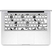 igsticker MacBook Air 13inch 2010 ~ 2017 専用 キーボード用スキンシール キートップ ステッカー A1466 A1369 Apple マックブック エア ノートパソコン アクセサリー 保護 014919 足跡 黒 シルエット