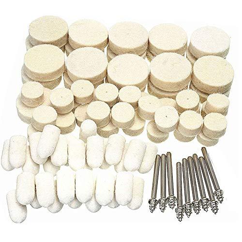 Discos de pulido de lana de 88 piezas de fieltro suave para pulir, juego mixto para herramientas rotativas