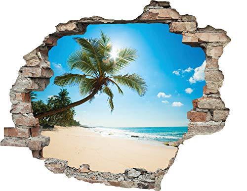 Cuadros Lifestyle | 3D-Effekt Wandtattoo 'Palmenstrand' | Aufkleber | Durchbruch | selbstklebendes Wandbild | Wandsticker | Stein | Wanddurchbruch | Wandaufkleber | Tattoo, Größe:60x50 cm