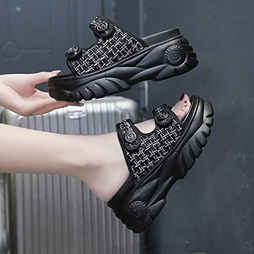 Zapatillas De Casa para Mujer Verano,Femenino Verano 2021 Nuevo Oeste Virando Una Pantura con Tarza De Pine Plago Tramente Coagula De La Plaga De La Plaga-EU 35 (225mm / 8.85')_Negro