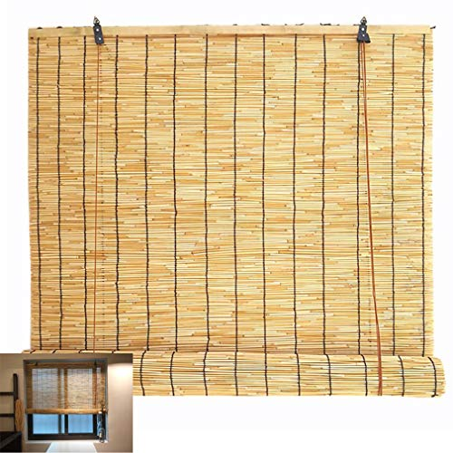 Zhaomi Handwoven Natural Bamboo Roller Blind,Retro Straw Blinds,Reed Curtain Blind Sun Shade,Lifting Shutters,Light Filtering Breathable,for Terraces,Restaurants and Shops (90x120cm/35x47in)