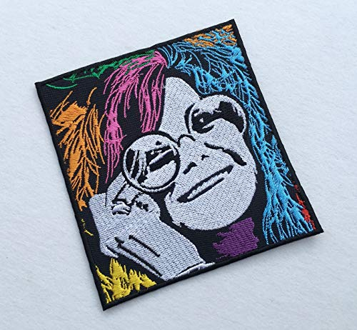 Janis Joplin Colorful Art Embroidered Band Patch Inspired Iron on Sew Music Rock Star Emblem Badge Patches for Backpacks, Jackets, etc (White)