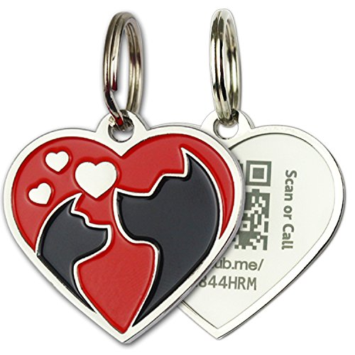 PINMEI Zine Alloy Scannable QR Code Pet Dog Cat ID Tag, Powered by PetHub (Red Heart)